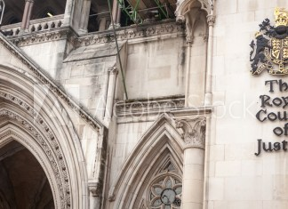 The Royal Courts of Justice, London. The Law Courts, The Royal Courts of Justice houses the High Court and Court of Appeal of England and Wales.