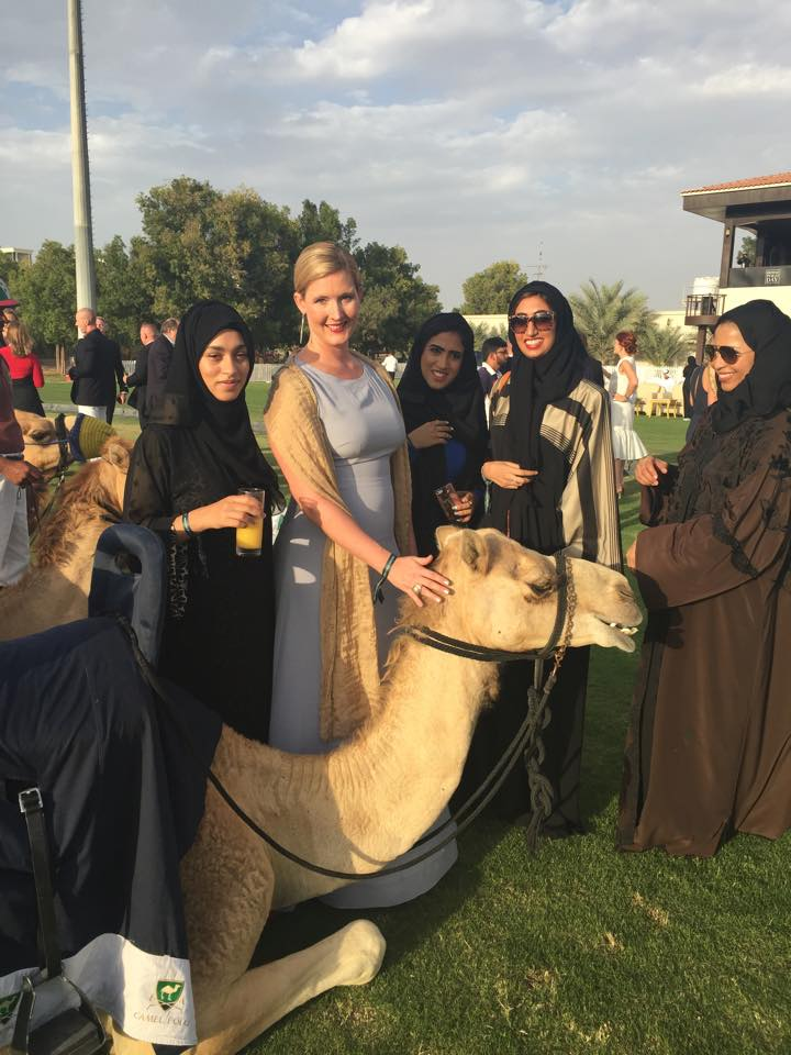 Jamilla the Camel with Emirati colleagues