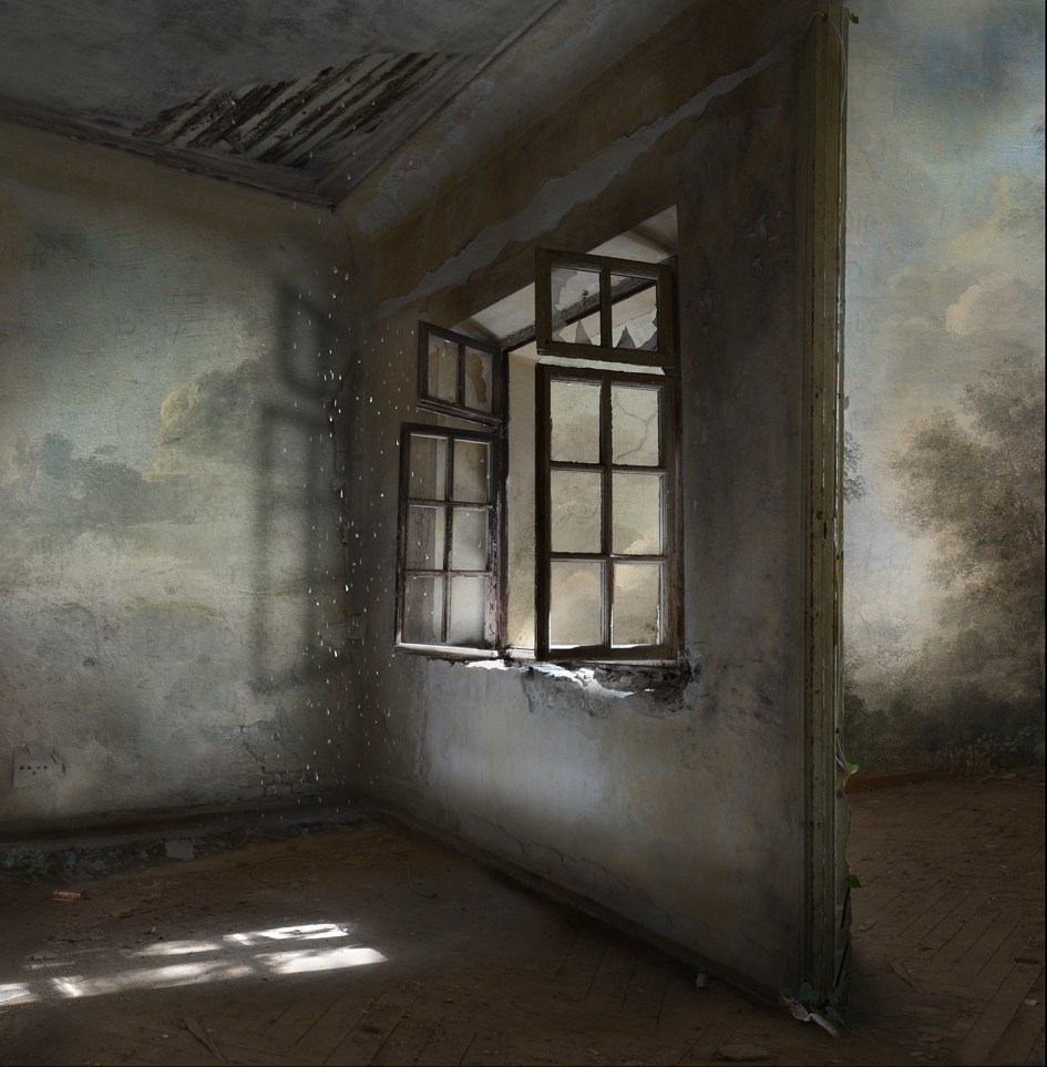 Artwork by contemporary artist Suzanne Moxhay of an open window with light coming through