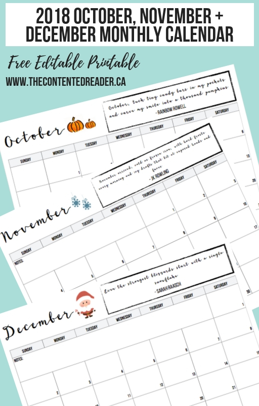 2018 Monthly Calendar Editable Printable - The Contented Reader