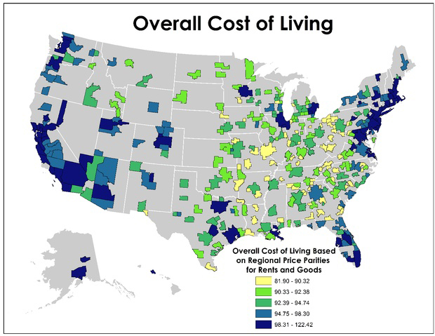 Here\'s a pretty legitimate United States cost of living map ...