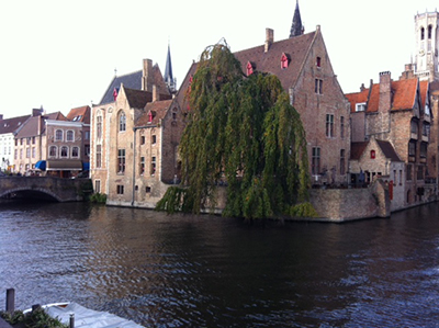 This is a canal in Bruge. On the patio is a beer bar. It's pretty good, although there were some Crimson Tide fans there when I walked up.