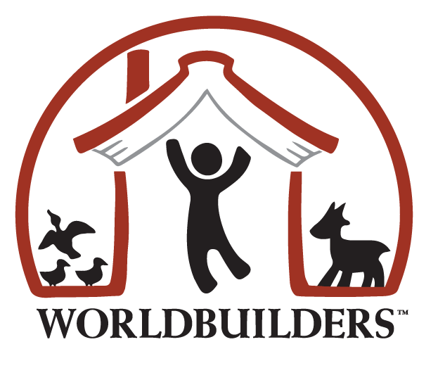 Worldbuilders Logo: a silhouette of a person leaping into a book in a red icon shaped like a house. Silhouettes of birds and a dog are on either side of the house.