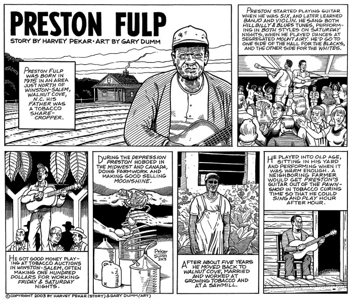 Preston Fulp story written by Harvey Pekar with art by Gary Dumm from TALES OF THE MUSIC MAKERS