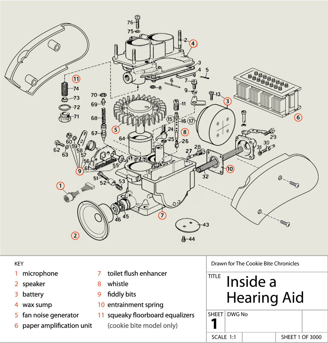 Exploded Diagram Hearing Aid