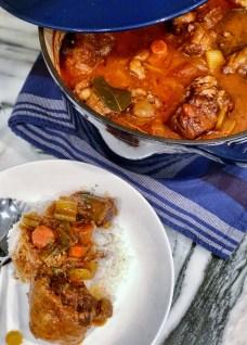 braised oxtail ragu over jasmine rice