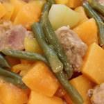 pork chunks butternut squash chayote beans TCP