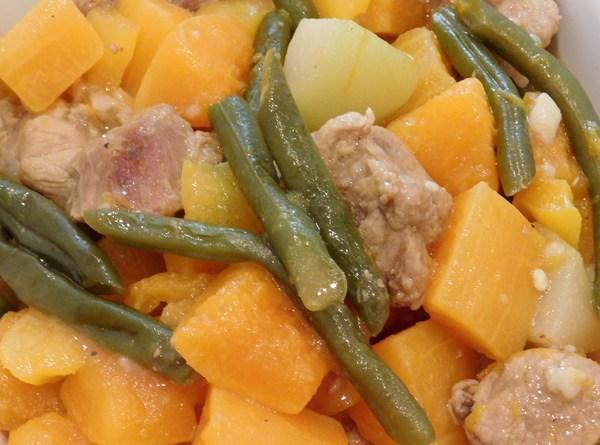 Pork Cuts, Butternut Squash, Chayote and Beans
