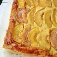 Orange Blossom Peach Tart, with a thin Vanilla Cheese cake layer.