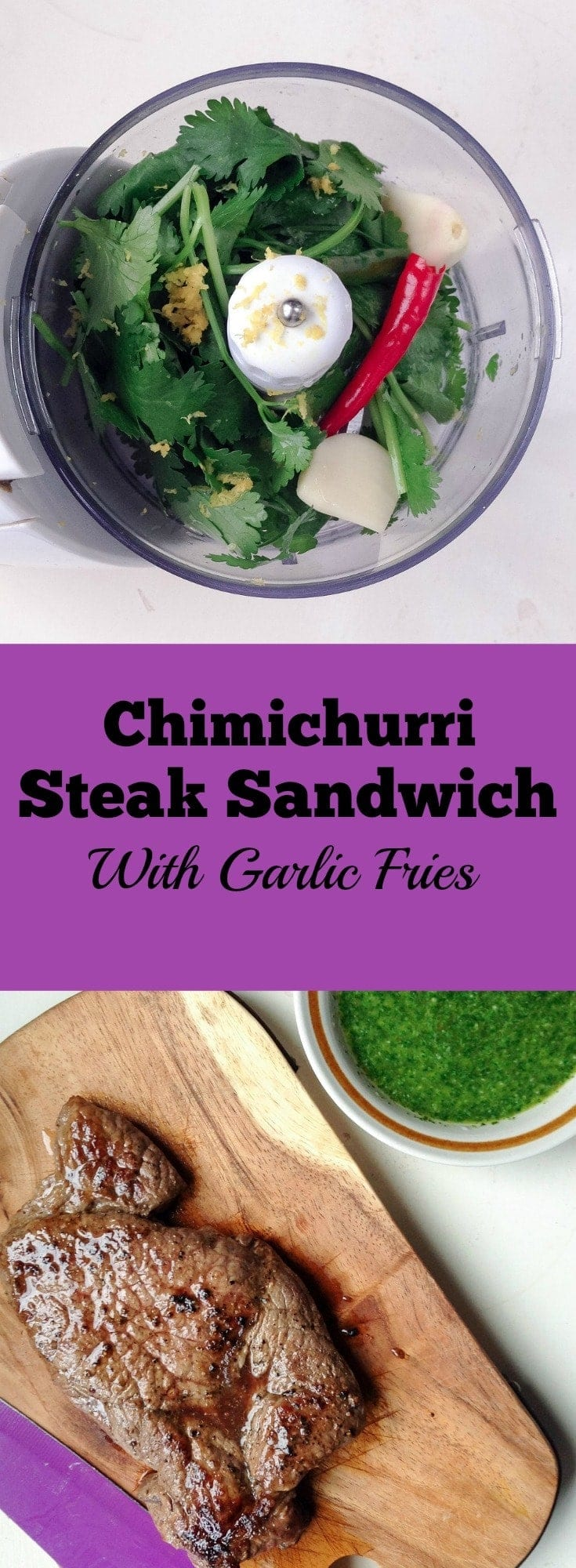 For this chimichurri steak sandwich the steak is sliced and served with caramelised onions, spinach leaves and a chimichurri dressing.
