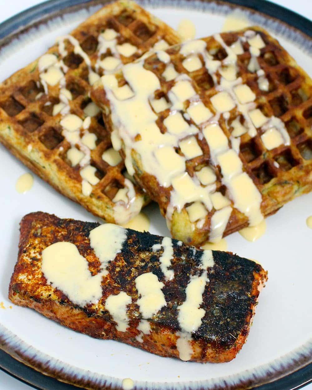 Cajun Salmon, Courgette Waffles & Blender Hollandaise Recipe