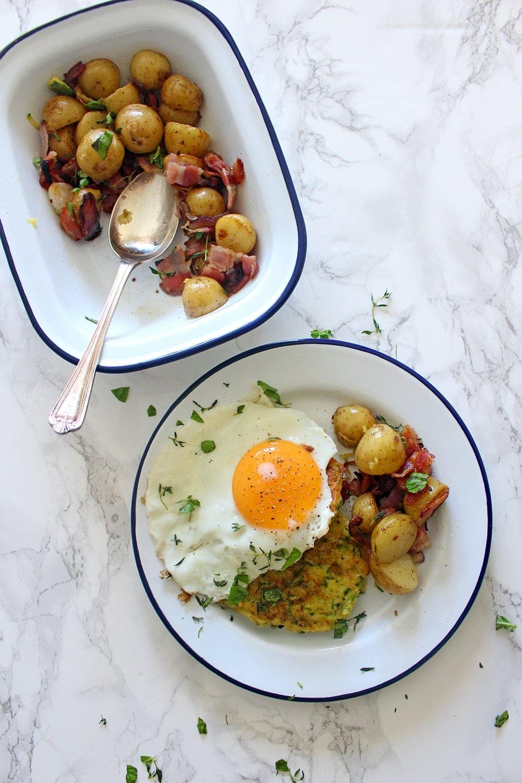 Courgette & Pecorino Fritters | Potato & Bacon Hash