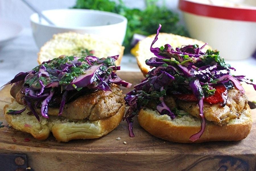 Cumin Rubbed Chicken Sandwiches, Chimichurri Slaw & Chipotle Potato Salad