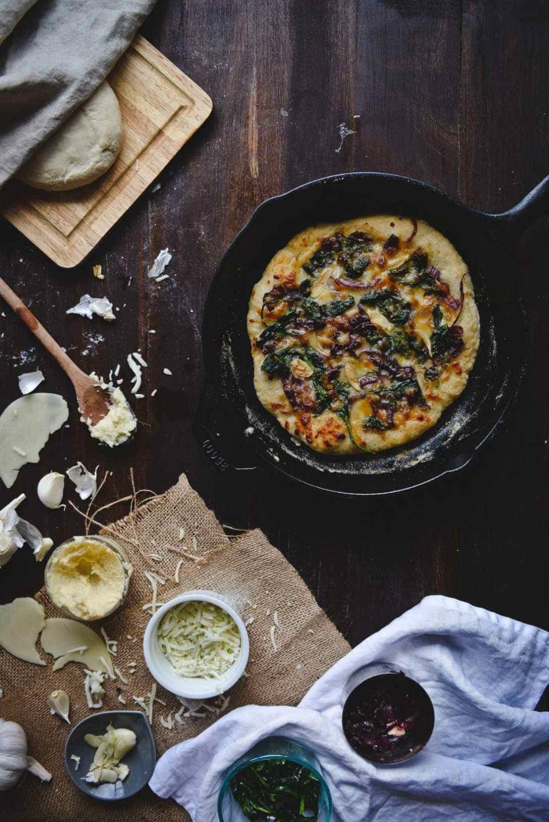 Spinach, Caramelised Onion & Roasted Garlic White Pizza