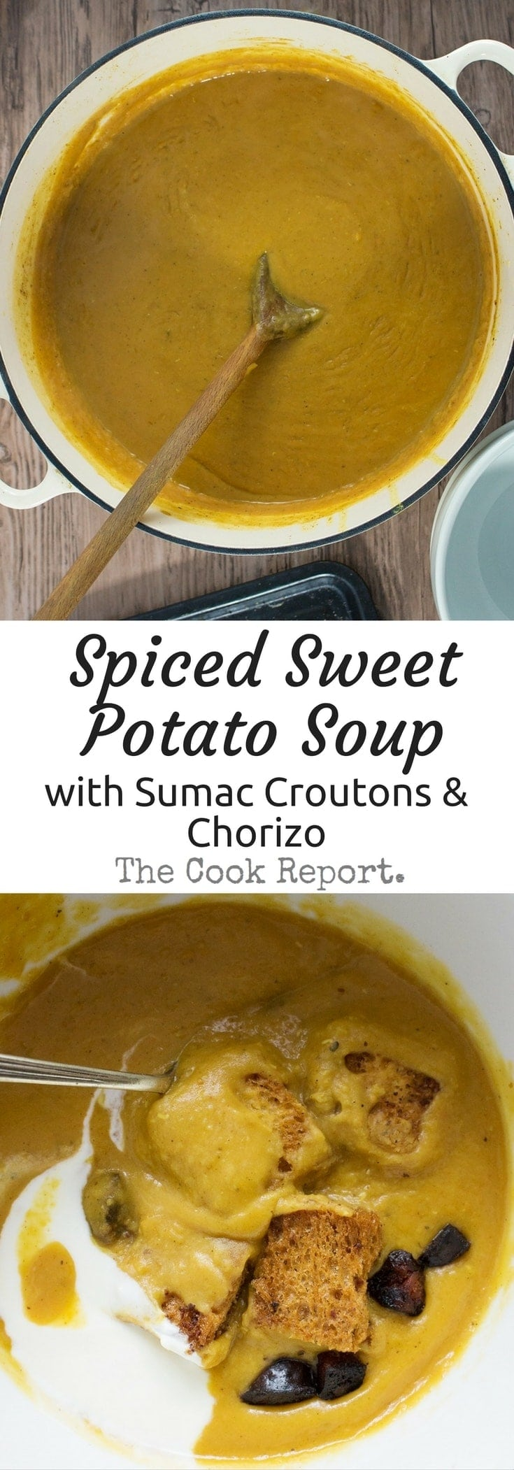 Sweet potato soup spiced with ras-el-hanout and topped with sumac croutons and crispy chorizo. Finish off with a dollop of yoghurt for a filling winter meal.