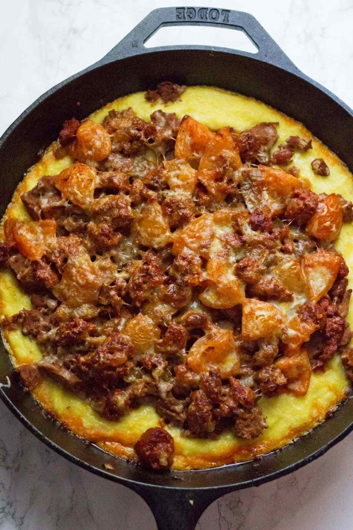 If you're looking for a great gluten free dinner that's on the table in half an hour then this chorizo polenta skillet is the perfect thing!