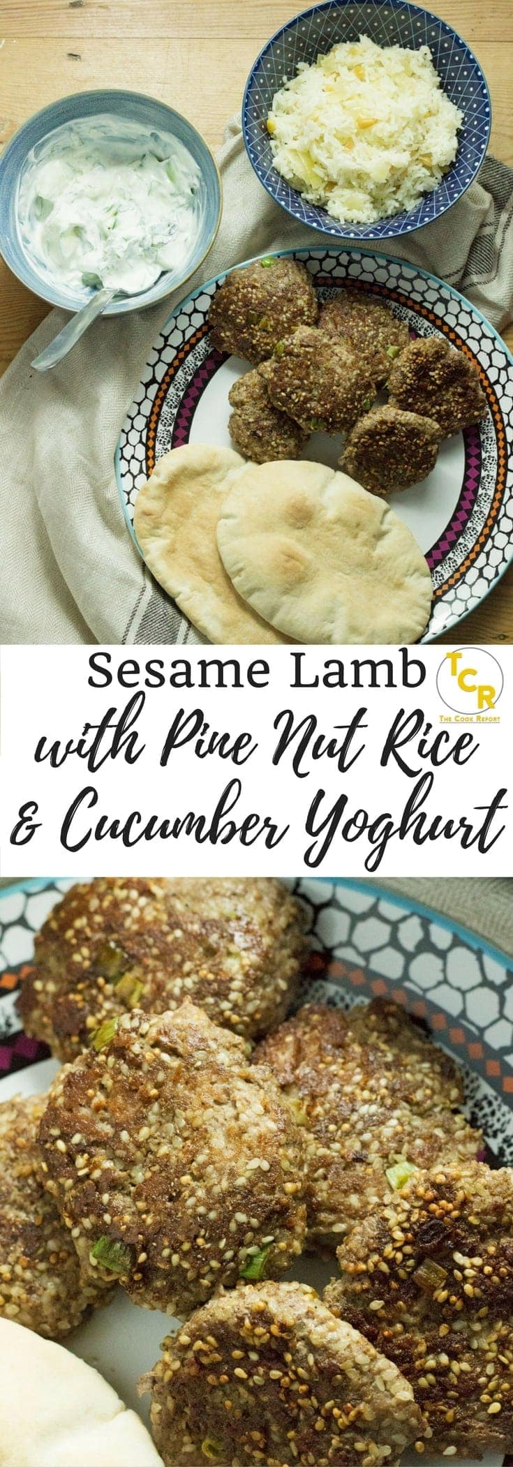 This sesame lamb recipe tastes delicious stuffed in a pitta with some cucumber and mint yoghurt drizzled on top and some pine nut rice on the side.