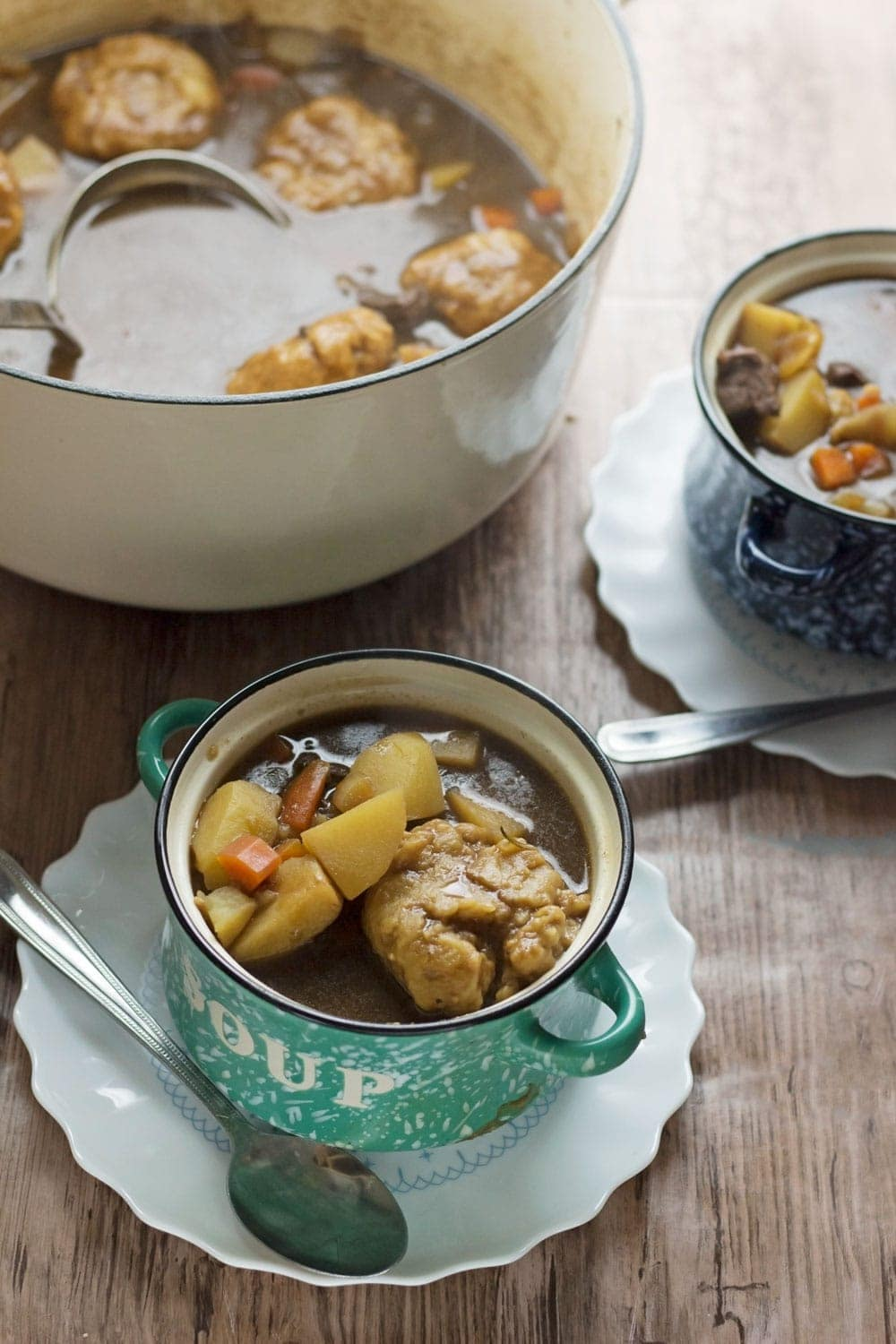 Beef vegetable soup with dumplings is super comforting & the perfect recipe for a Sunday treat. It's flavoured with rosemary & hearty from the potatoes.