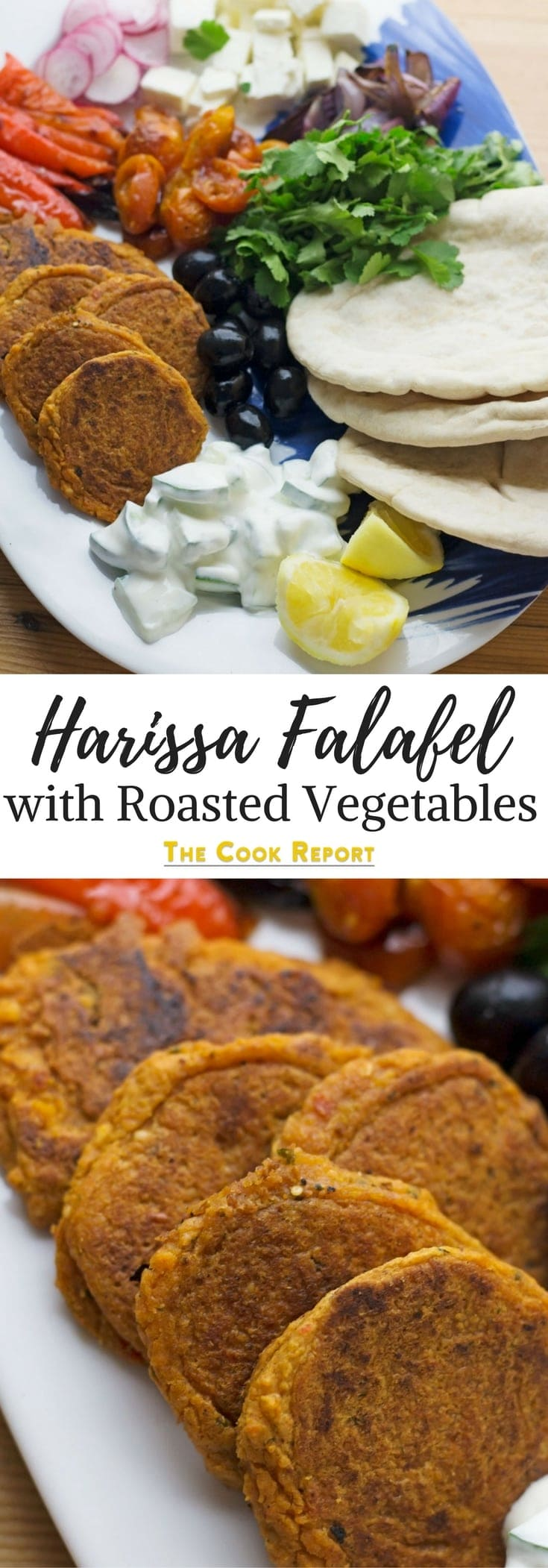This harissa falafel recipe is spiced with rose harissa & aleppo chilli flakes. Serve with roasted vegetables & cucumber yoghurt for a delicious meal!