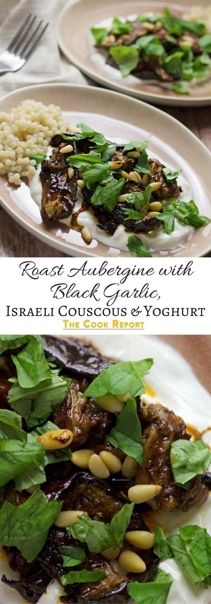 This roast aubergine gets a rich balsamic flavour from the black garlic cooled down by a bed of Greek yoghurt. Serve with Israeli couscous.