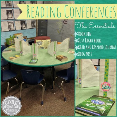 Our reading conference table and supplies for student conferences.