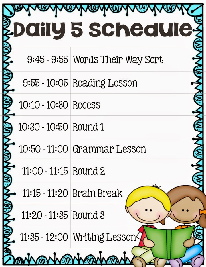 Elementary Classroom Schedule Template ~ Setting up a daily schedule for your classroom gt core