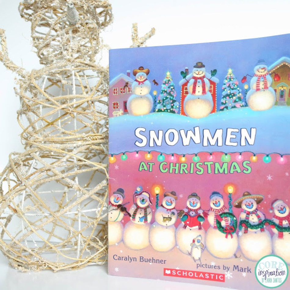 Snowmen At Christmas book cover next to snowman decoration