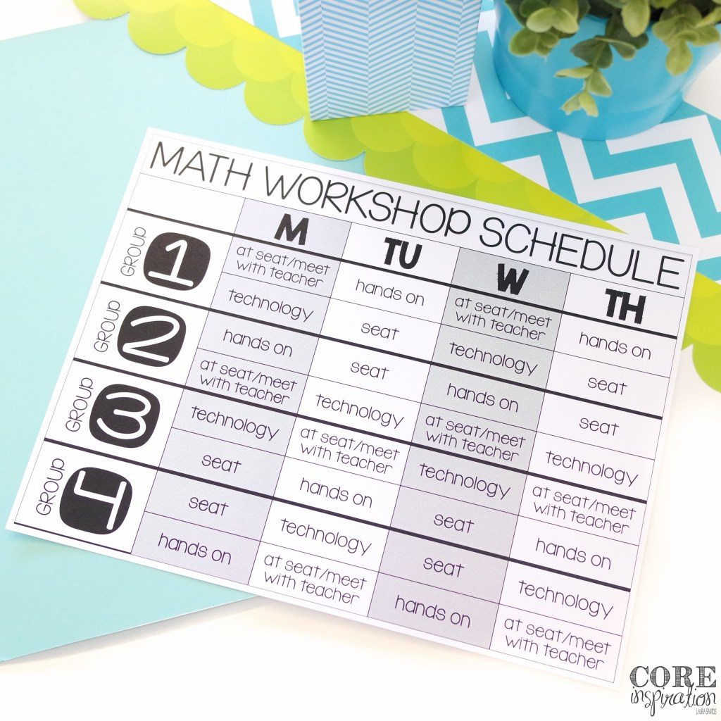 Using four math groups for M.A.T.H. Workshop allows for a targeted schedule and make pre planning easier.
