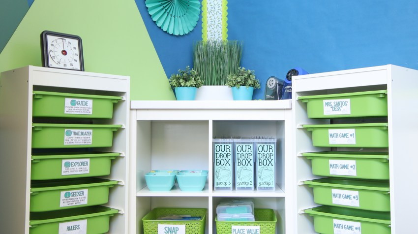 Core Inspiration math workshop storage corner.