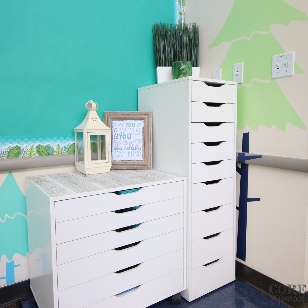 Classroom corner with wide drawers for projects and deep drawers for extra art supplies.
