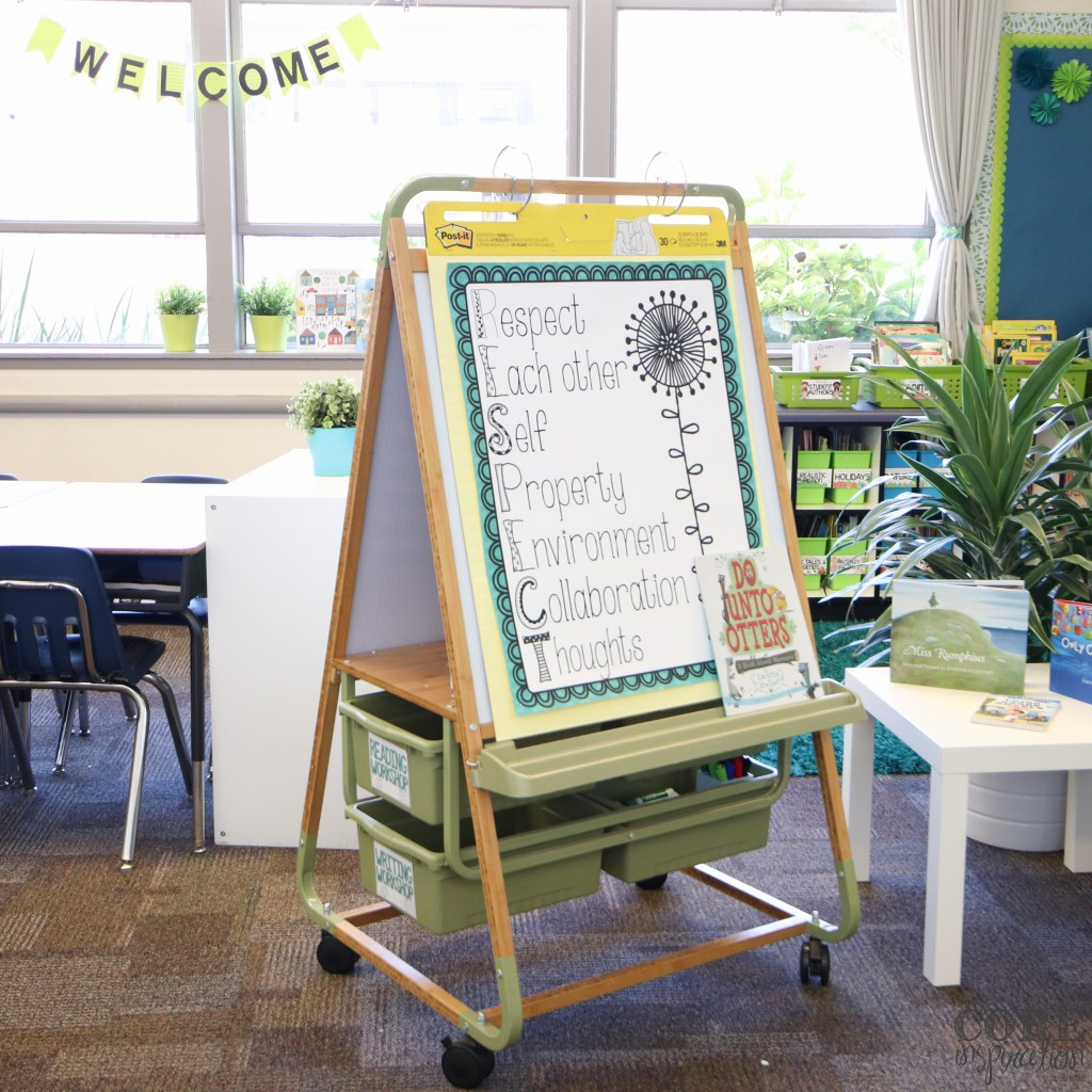 Bamboo teaching easel with RESPECT classroom management poster on display.