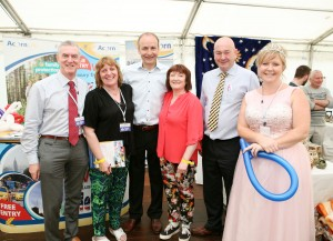 At the Acorn ife Stand at the Cork Summeer Show were L to R., Shane Russell, Breda O'Connor,, Fianna Fail leader Micheal Martin TD, Kathleen O'Callaghan, Fianna Fail candidate Cllr. Kevin O'Keeffe and FunanZZA Princess Plum. Picture, Tony O'Connell Photography.