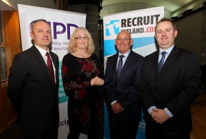 EEXXjob 07/10/2015 Echo News/Irish Examiner. CIPD HR Interview and Social Evening, with Dr. Cliodhna MacKenzie in conversation with Charlie Dolan, Chartered FCIPD, The Darker Side of HR, sponsored by RecruitIreland.com at Devere Hall, UCC Campus, Cork. Conor O'Connell, Chairman CIPD, Dr. Cliodhna MacKenzie, Senior Lecturer UCC, Charlie Dolan, FCIPD and Rona O'Callaghan, RecruitIreland.com Picture: Jim Coughlan.
