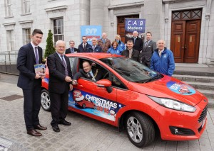 REPRO FREE 24/11/2015 Seamus Harnedy (CAB Motors Ambassador) handing over the keys of the Ford Fiesta which will be raffled this Christmas in aid of St. Vincent de Paul to the Lord Mayor Cllr. Chris O'Leary. Also included are Christy Lynch (Regional President SVP S/W Region), Junior Locke (Regional Vice-President SVP S/W Region), Barrie Kenny (CAB), Jerry Crowley (CAB), Pat Harte (CAB Sales Manager), Gerry Garvey (Regional Co-ordinator SVP), Ellmarie Spillane-Dowd (SVP), Brendan O'Neill (SVP Volunteer), Brendan Dempsey (SVP Volunteer), John McSweeney (SVP Volunteer) and Anne McKernan (Fundraising Officer SVP). Photo: Billy macGill
