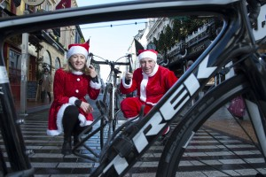 FREE PIC  NO REPRO FEE RTE's Southern Editor Paschal Sheehy unveiled details of the 2015 edition of the annual Christmas Cracker Charity Cycle at a photo-call  with Rose Murphy one of organizers of Christmas Cracker Charity Cycle in the Friends of Marymount shop.  The shop is located on Cork's Oliver Plunkett St. recently voted the best street in Ireland and Britain and is a great source of support for Marymount Hospice. So too is the Christmas Cracker cycle and last year's edition raised over 13,000 euro. Pictures Gerard McCarthy 087 8537228  More Info contact Grace Graham Dunne  grace.graham.dunne@gmail.com    086 6062933