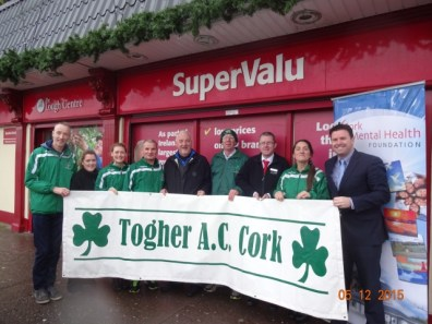 Togher AC 5k Launch, Liam Ryan, SuperValu, Reps from Cork Mental Health Foundation, Togher AC & SuperValu