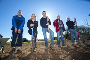 24/02/2016. FREE TO USE IMAGE. Pictured at thebrand new Kitchen Garden to the tune of €3,000 presented by GIY and Cully & Sullyat the Cork Association for Autism centre in Mogeely Cork are from left   service user Eamonn Rodgers, Rena O'Donovan Cully & Sully, Michael Kelly founder of GIY, service user Cathal Cronin and Emma Hutchinson Horticultural co-ordination at the Cork Association for Autism. Photograph Patrick Browne.  Release.  €3,000 Kitchen Garden planted at Cork Association for Autism by GIY and Cully & Sully  A brand new Kitchen Garden to the tune of €3,000 in being planted today (February 24th) at the Cork Association for Autism centre in Mogeely by GIY and Cully & Sully.  Late last year GIY and Cully & Sully teamed up to launch a fun Grow at Work campaign dubbed #GivePeasAChance challenging teams to grow food at work and offering the winners a food garden worth €3,000 to donate to a charity or community group of their choice plus €2,000 worth of vouchers for Ballymaloe House and Cookery School for the winning team.  Out of 450 companies who took part in #GivePeasAChance the competitions winning team was a group of 5 chiropractors from Optimal Chiropractic in Cork who chose to present the Cork Association for Autism with the prize of the €3,000 GIY Food Garden.  Crobally Service Centre in Mogeely provides residential care and respite care to 30 service users and just last week an additional building was officially opened at the centre, enabling the Cork Association for Autism to support 14 day service users aged between 18-28. The service provides person centred support and skill development programs to adults on the Autism spectrum throughout Cork.  Each individual on the programme has a person centered plan in place which focuses on the interests of the service user and their objectives in life. The new Kitchen garden will offer services users one to one horticultural therapy according to Horticultural Co-ordinator at the ce