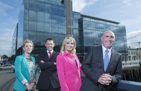 Free Pic no repro fee  Pictured celebrating PwC's move to One Albert Quay, Cork l-r:  Valerie Mulcahy, WGPA Executive Committee member and 10 times all Ireland football Champion;  Anthony Reidy, Assurance Partner, PwC Cork; Anna Geary, WGPA Executive Committee member and former All Ireland winning Camogie Captain and Ger O'Mahoney, PwC Cork Senior Partner.  Pictures by Gerard McCarthy 087 8537228   more info contact Johanna Dehaene 086 8106542