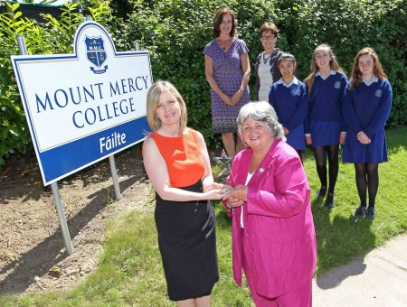 Mount Mercy College, Model Farm Road, Cork, receives Tròcaire School Award, in recoginition of the long tern and outstanding support, at Mount Mercy College, Cork. Janet Twomey, Tròcaire's Manager in Cork, presents the Tròcaire Award to Padraigin Ui Riordain, Principal, Mount Mercy College, also included are, Anne Nally, Peace & Justice at the College, Therese Culligan, College Fundraising, Siùn Nally, Katie Gaynor and Noelette Roche, best Tròcaire fundraisers. Picture: Jim Coughlan.