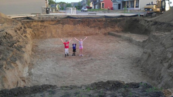 The foundation for their 2013 dream house project.