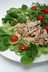 spinach salad - meat and vegetable combo