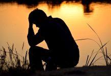 Depressed man broken heart brokenhearted Valentine Day