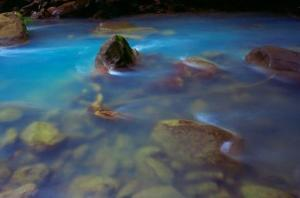 Bluis color is due to boichemical reactions inside waters