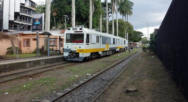 Trains are very common in urban areas of Costa Rica.