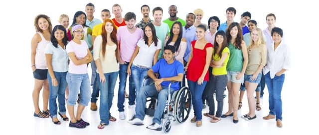 Diverse people, with or without disabilities