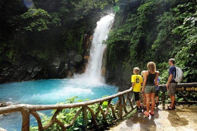 Beautiful waterfall landscape in Costa Rica