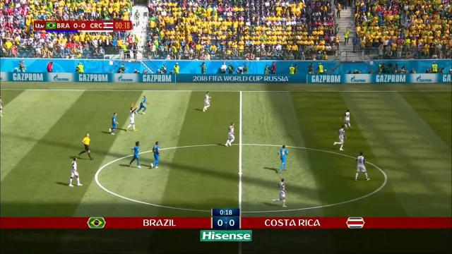 Beginning of Brazil-Costa Rica match at the 2018 World Cup