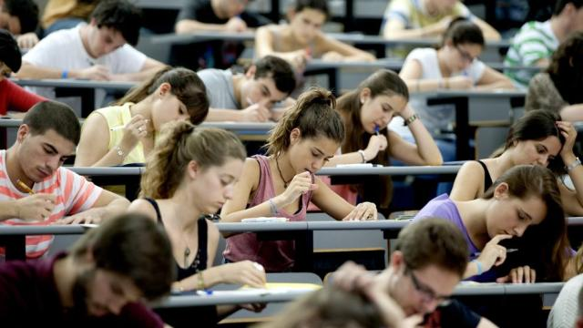 University students taking a written test