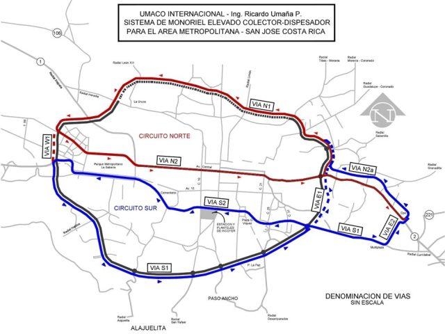Projected routes for San José's metropolitan area