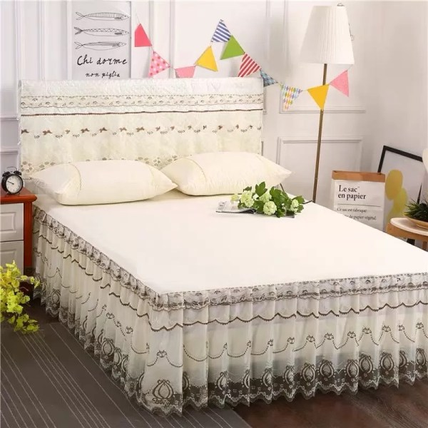 Pleated Bedskirt With Two Pillowcases-Cream-white